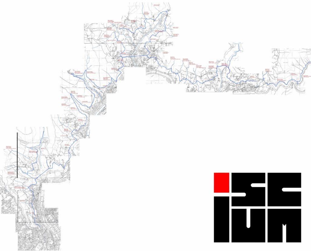 mappa del tracciato dell'acquedotto storico come rilevato nel 2011 con indicazione dei nomi dei rivi secondo diverse fonti scritte
